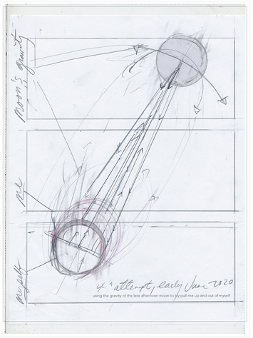 rawing of the moon and earth showing gravitational pull between the two by Richard Haley