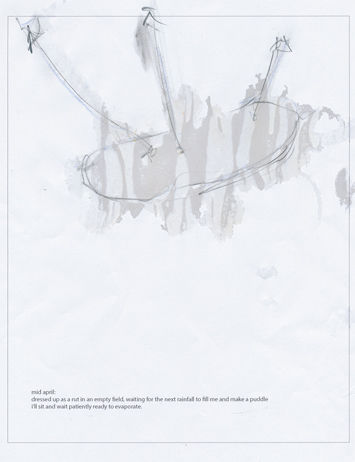 This is a picture of an abstract drawing with an oval and three lines from the top attached to it by Richard Haley